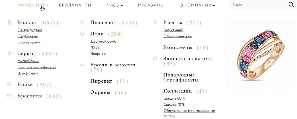 ювелирный сайт структура